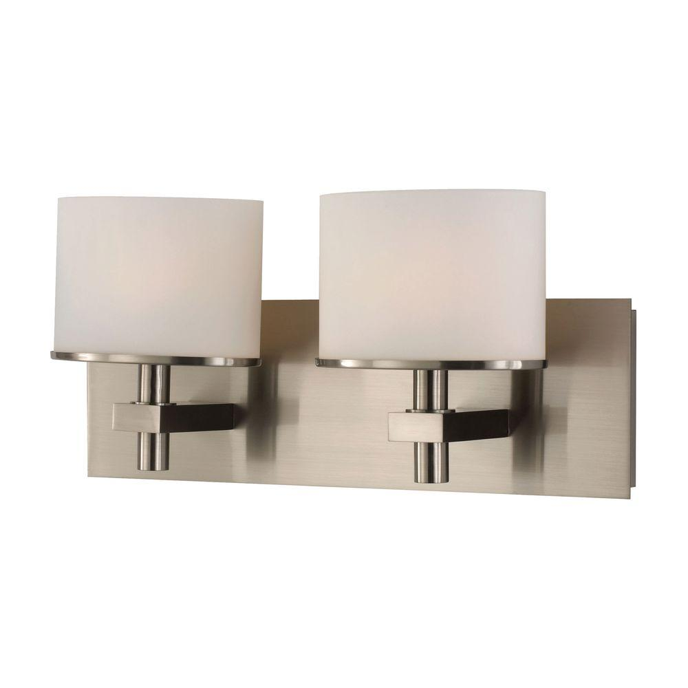 Ombra 2-Light Satin Nickel Vanity Light with White Opal Glass