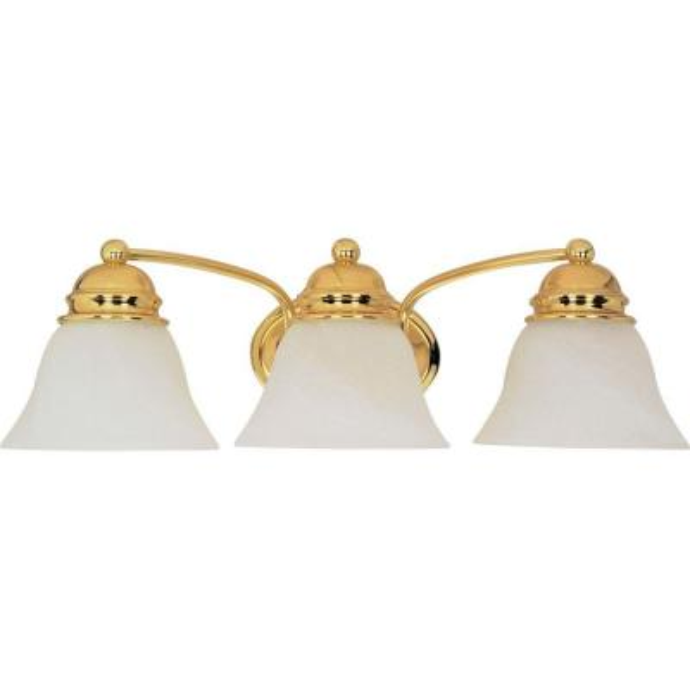 Nuwa 3-Light Polished Brass Bath Vanity Light with Alabaster Glass