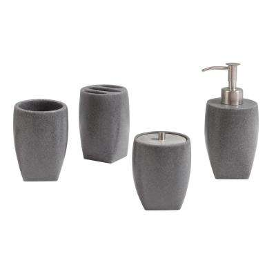 Max 4 Piece Bath Accessories Set In Gray Sand