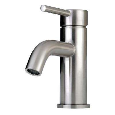 Contemporary Single Hole 1-Handle High-Arc Bathroom Faucet in Satin Nickel