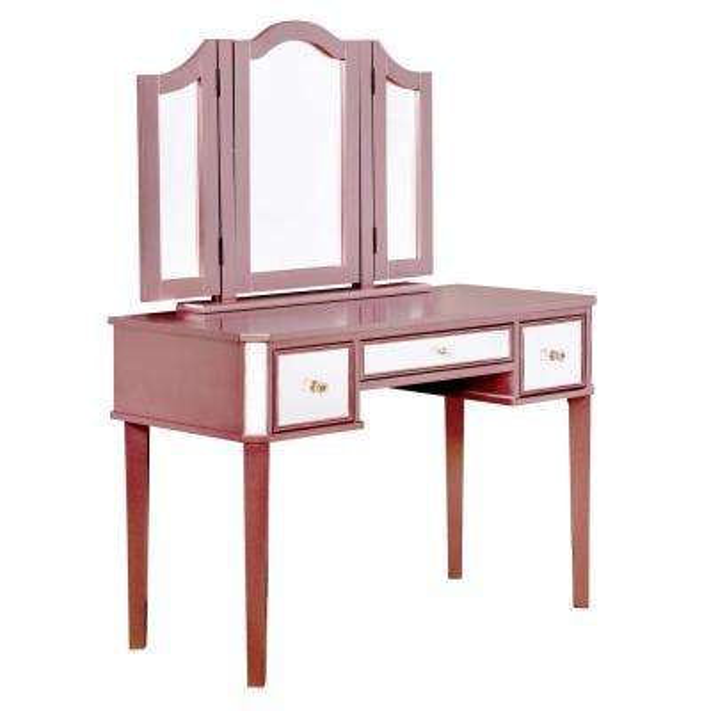 Arriana 2 Piece Rose Gold Tri Fold Mirror Vanity Set
