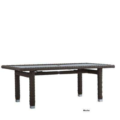 Camari Mocha Wicker Outdoor Dining Table with Glass Top