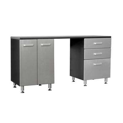 Metallic Series 36 in. H x 71 in. W x 21 in. D Work Bench with 3-Sturdy Drawers and 2-Door Storage Cabinet