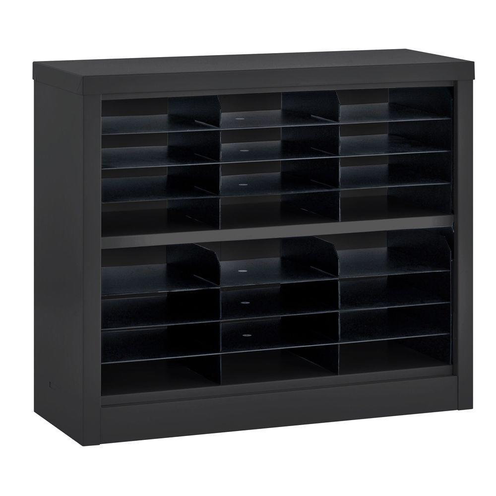 Sandusky 30 in. H x 34.5 in. W x 13 in. D Steel Commercial Literature Organizer Shelving Unit in Black