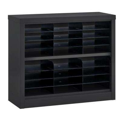 30 in. H x 34.5 in. W x 13 in. D Steel Commercial Literature Organizer Shelving Unit in Black