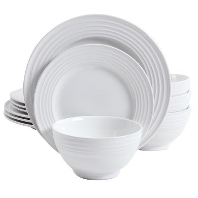 Plaza Cafe 12-Piece White Dinnerware Set