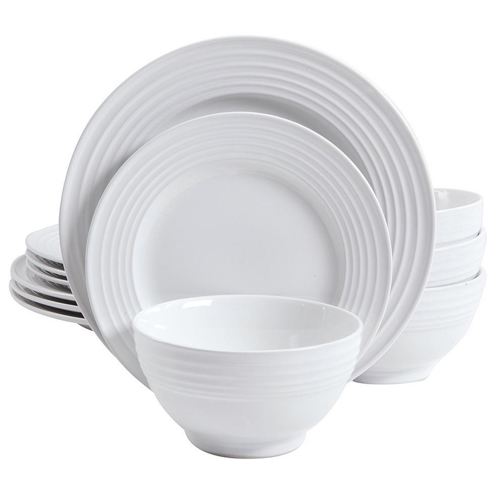 Plaza Cafe 12-Piece White Dinnerware Set