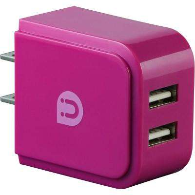 2-USB Port Wall Charger, Pink