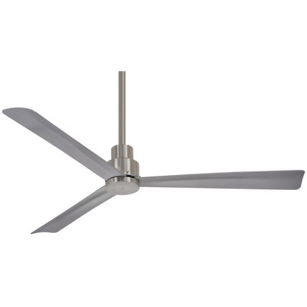 Simple 52 in. Indoor/Outdoor Brushed Nickel Wet Ceiling Fan with Remote Control