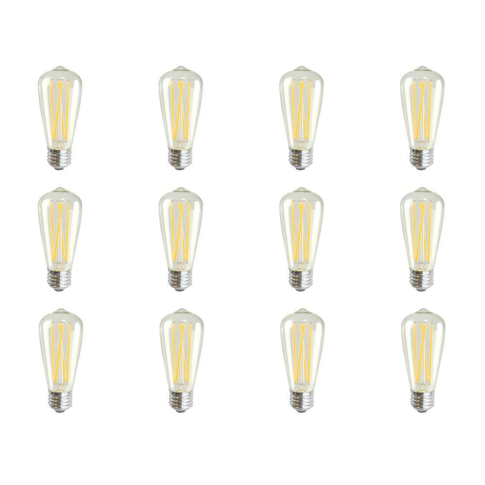 Glomar 60-Watt Equivalent (2200k) ST18 LED Light Bulb Warm White (12-Pack)