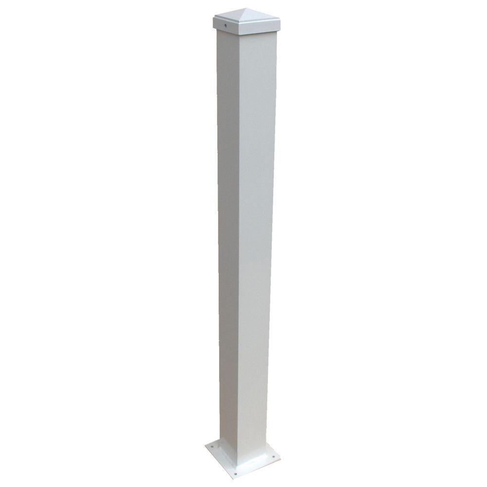 EZ Handrail 3 in. x 3 in. x 44 in. White Aluminum Post with Welded Base