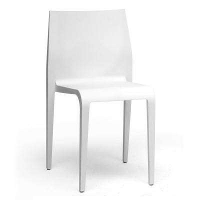 Blanche White Finished Plastic Dining Chairs (Set of 2)