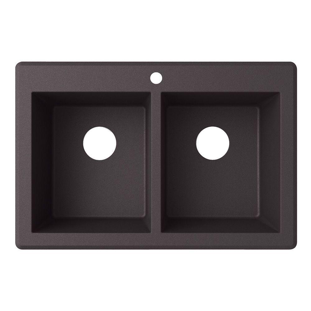 Drop-In/Undermount Granite 33 in. 1-Hole 50/50 Double Bowl Kitchen Sink in Nero