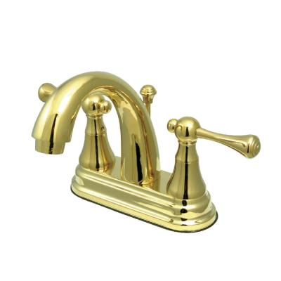 English Vintage 4 in. Centerset 2-Handle Bathroom Faucet in Polished Brass