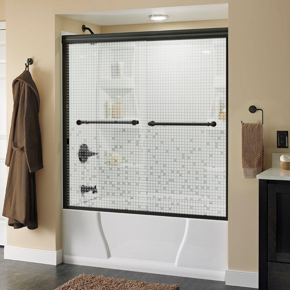 Silverton 60 in. x 58-1/8 in. Semi-Frameless Sliding Bathtub Door in Bronze with Mozaic Glass