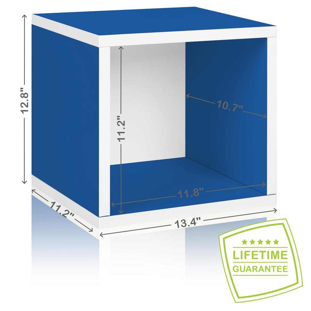 Way Basics Eco Stackable zBoard  11.2 x 13.4 x 12.8 Tool-Free Assembly Storage Cube Unit Organizer in Blue