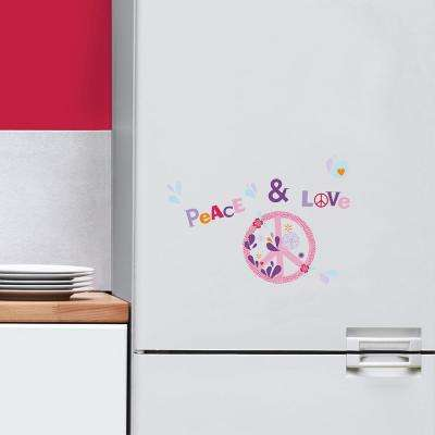 Multi-Color Peace and Love Mini Wall Decals