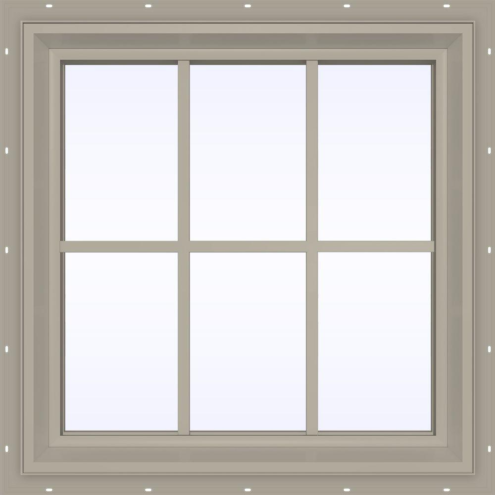 JELD-WEN 35.5 in. x 23.5 in. V-2500 Series Fixed Picture Vinyl Window with Grids - Tan