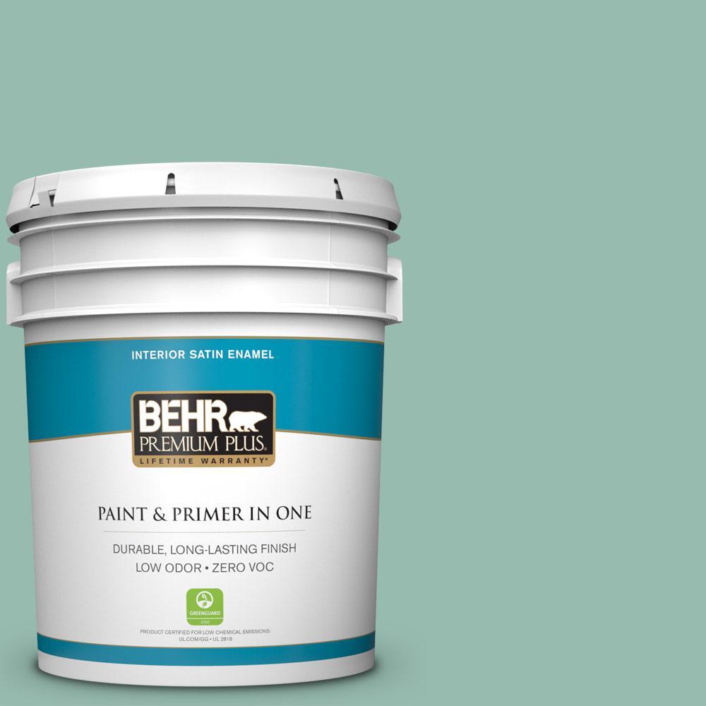 BEHR Premium Plus 5 gal. #M430-4 Sunstone Satin Enamel Zero VOC Interior Paint and Primer in One