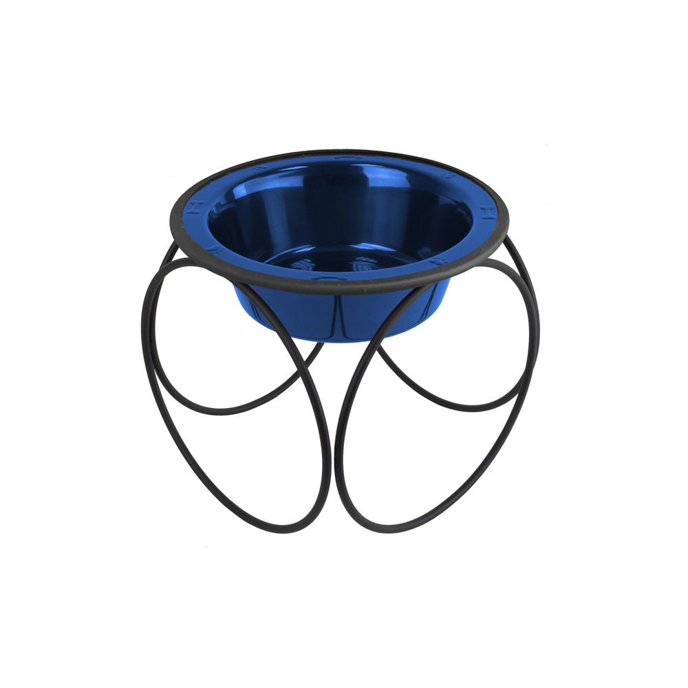 Platinum Pets 1.25 Cup Olympic Single Diner Feeder with Dog/Cat Bowl, Sapphire Blue