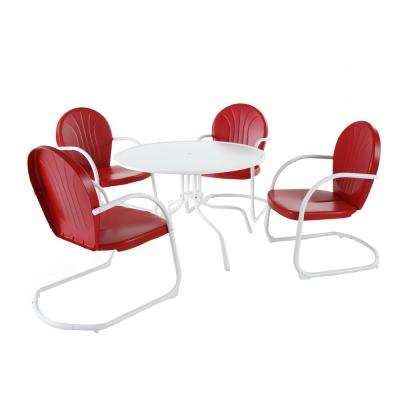 Griffith 5-Piece Metal Outdoor Dining Set with 39 in. Dining Table in White with Red Chairs