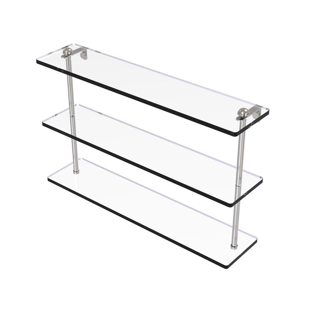 22 in. Triple Tiered Glass Shelf in Satin Nickel