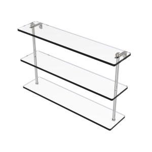 22 in. Triple Tiered Glass Shelf in Satin Nickel