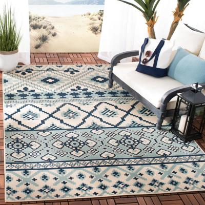 Veranda Turquoise/Blue 7 ft. x 10 ft. Indoor/Outdoor Area Rug