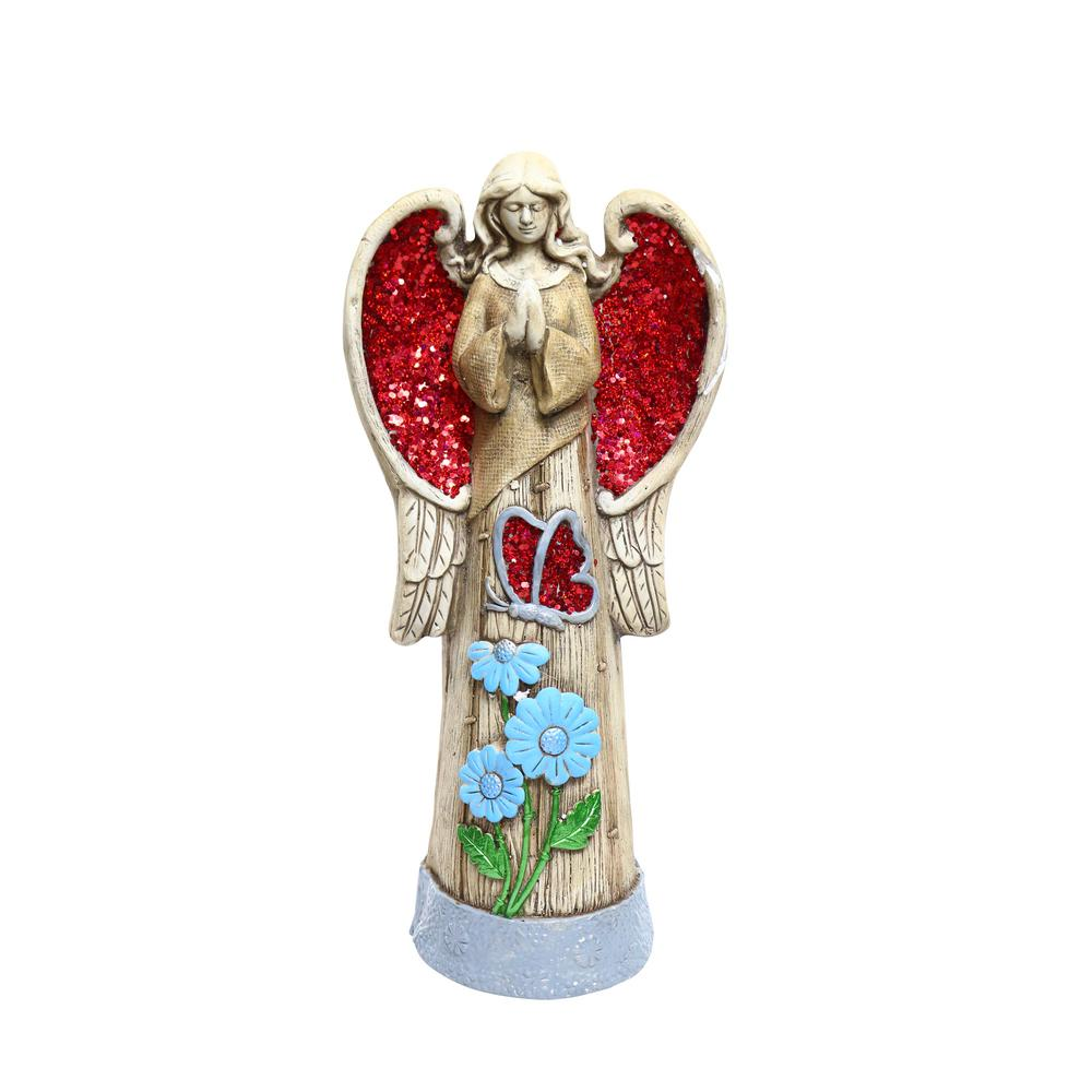 24 in. Angel Statue with Red Glitter Mosaic WIngs