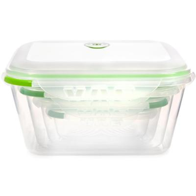 INSTAVACTM Green Earth Food Storage Container Set, BPA-Free 8-Piece Nesting Set with Vacuum Seal and Locking Lids