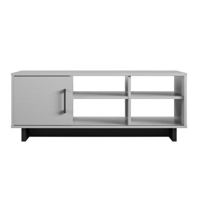 Julia 43 in. Gray/Black Large Rectangle Particle Board Coffee Table with Shelf