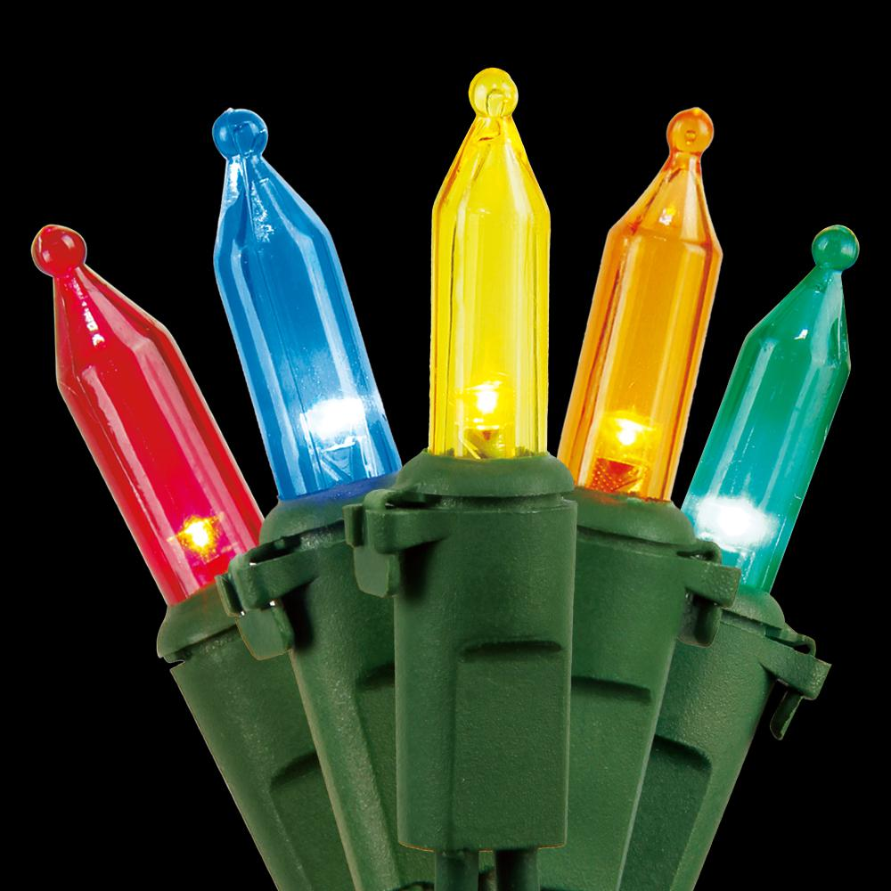 Home Accents Holiday 100-Light LED Mini Multi-Color Light with Green Wire