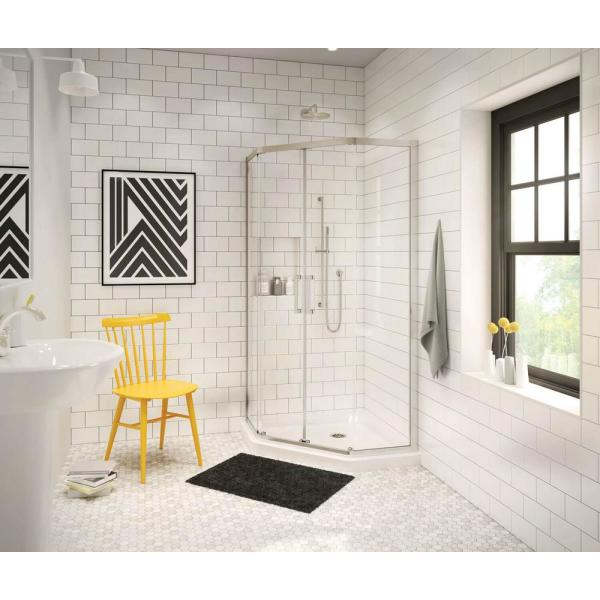Radia 38 in. x 38 in. x 71-1/2 in. Frameless Neo-Angle Sliding Shower Door with Clear Glass in Brushed Nickel