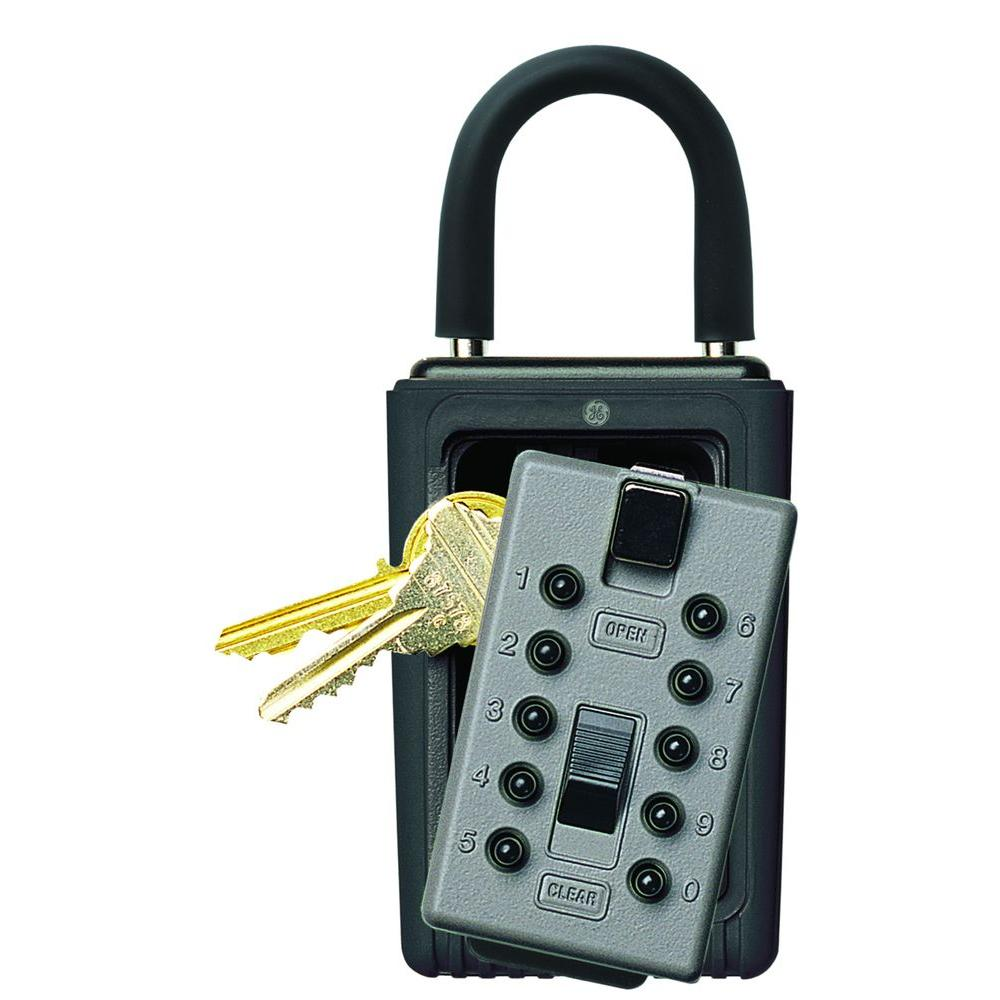 Portable 3-Key Box with Pushbutton Combination Lock, Titanium