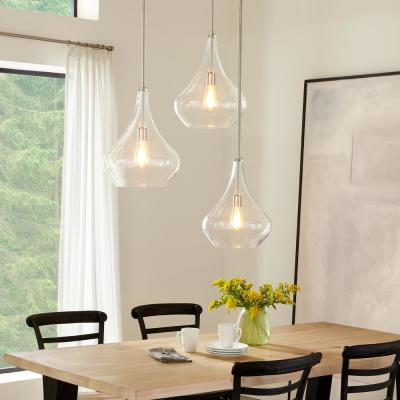 Mora 13 in. W x 17 in. H 1-Light Clear Glass Teardrop Pendant with Brushed Nickel Accents and Vintage Edison Bulb