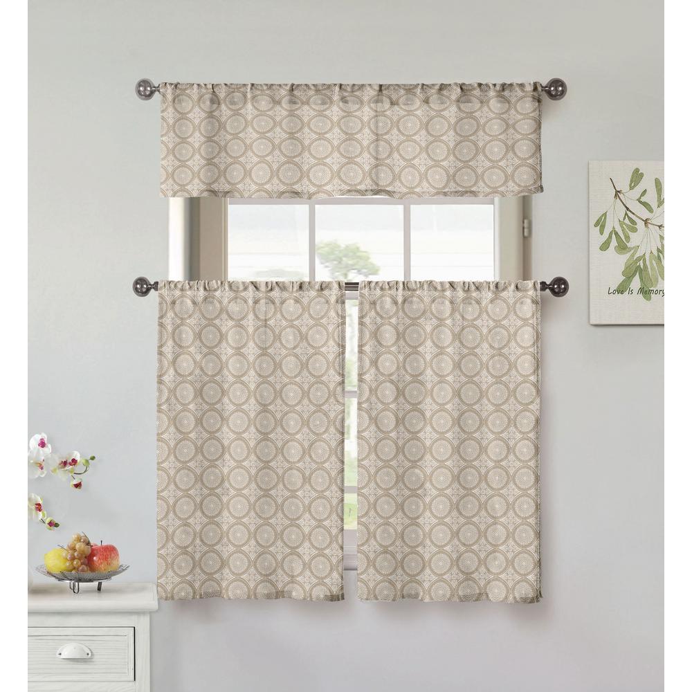 Vera Lolana Mocha Kitchen Curtain Set - 56 in. W x 15 in. L (3-Piece)