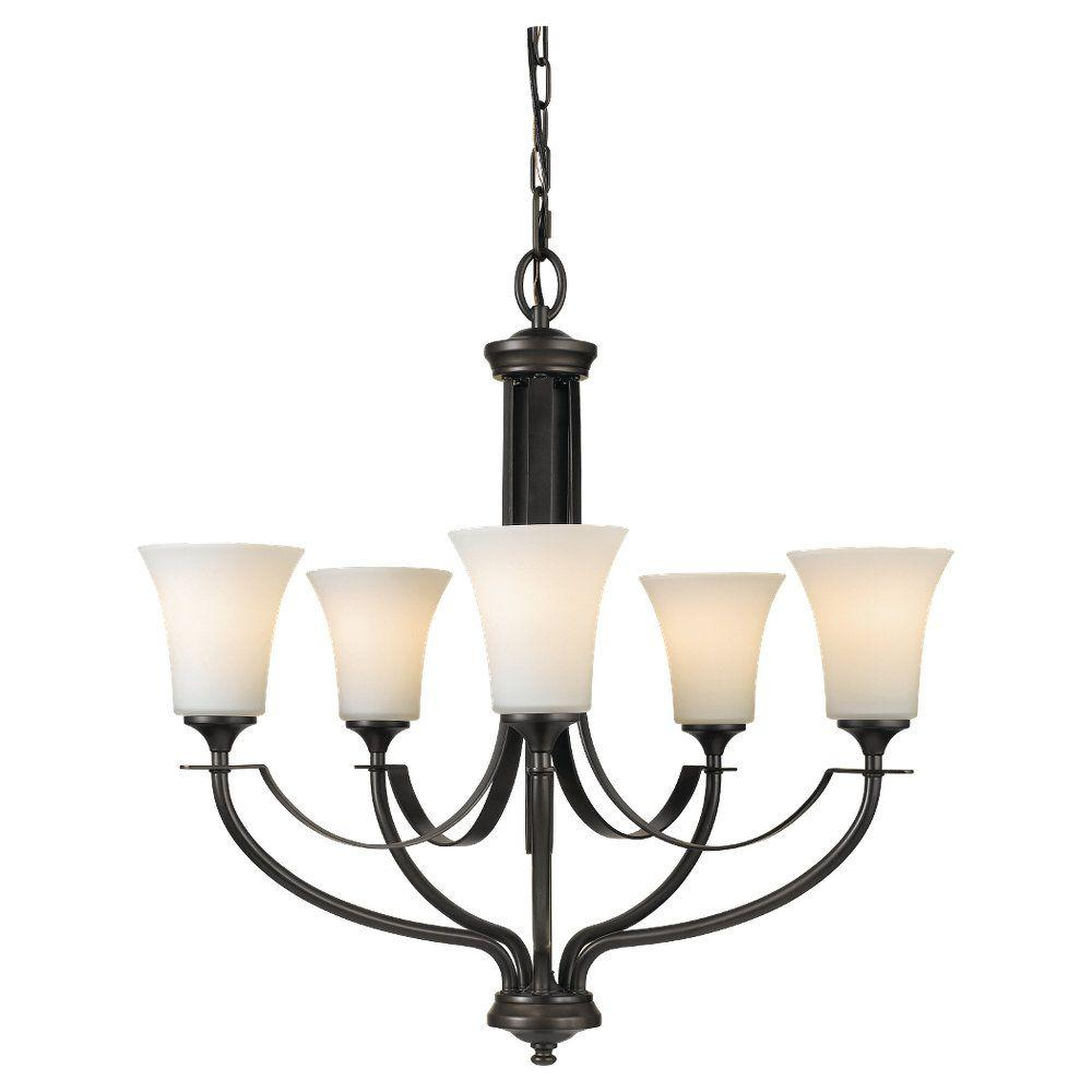 Sea Gull Lighting Barrington 25.5 in. W. 5-Light Oil Rubbed Bronze Chandelier with Opal Etched Glass Shades