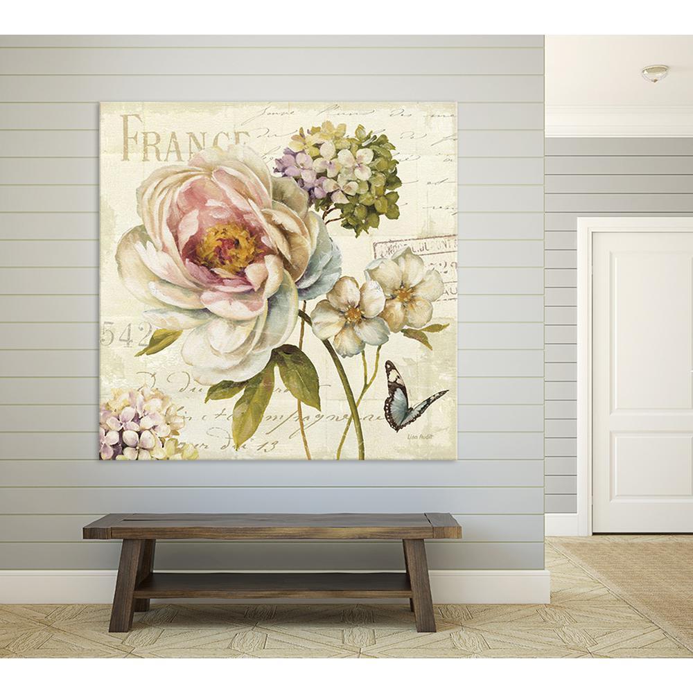 """54 in. x 54 in. """"Marche de fleurs III"""" by Lisa Audit Printed Framed Canvas Wall Art"""