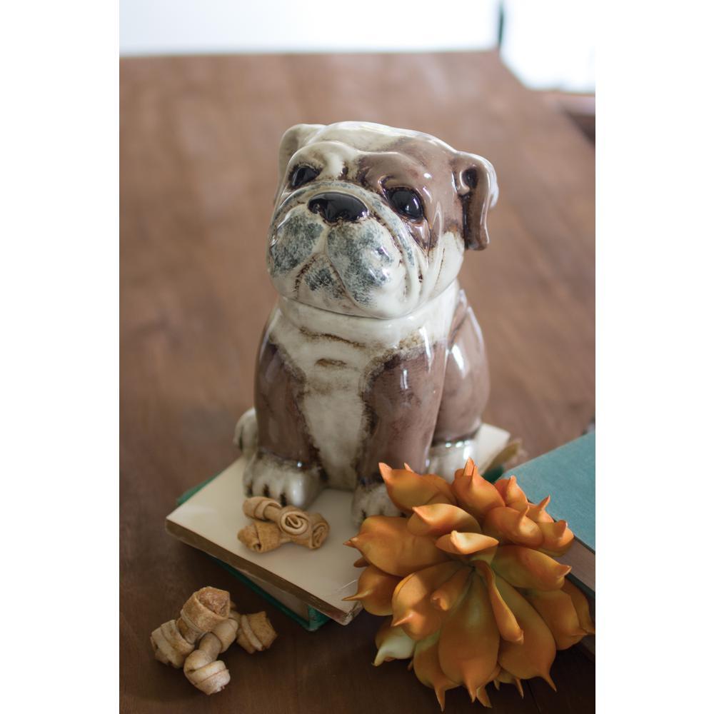2-Piece Ceramic Bull Dog Canister