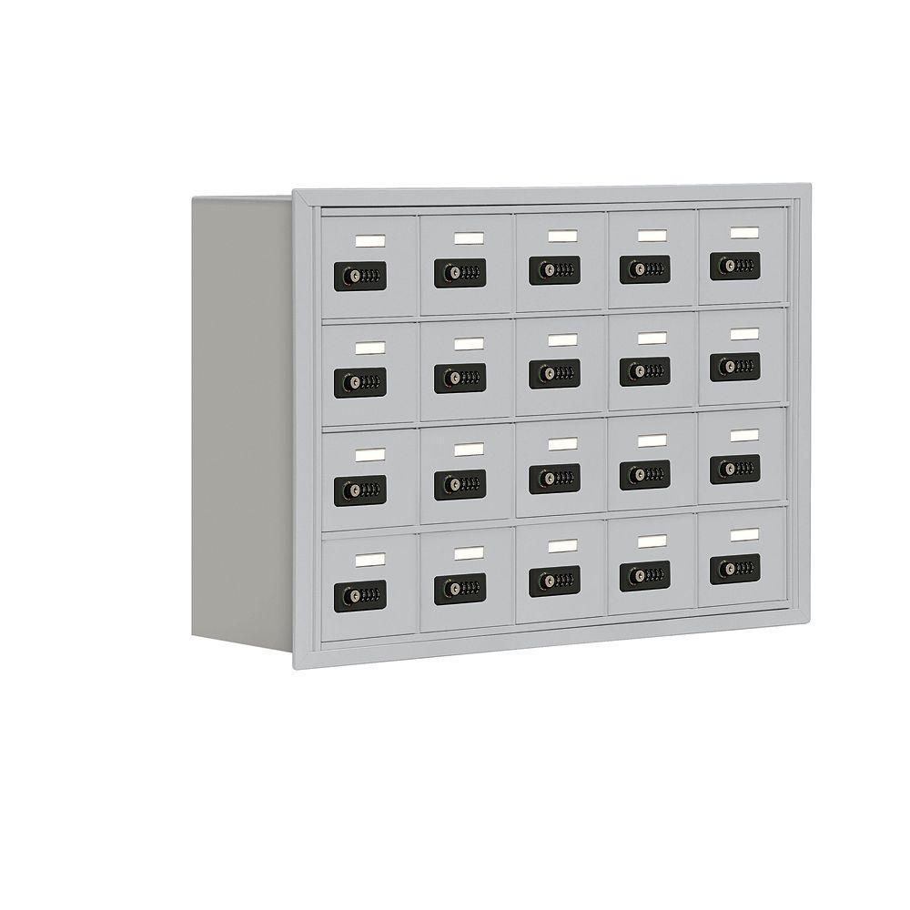 19000 Series 37 in. W x 25.5 in. H x 8.75 in. D 20 A Doors R-Mount Resettable Locks Cell Phone Locker in Aluminum