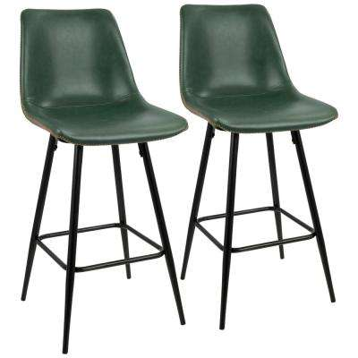 Durango 26 in. Black and Green Vintage Faux Leather Counter Stool (Set of 2)