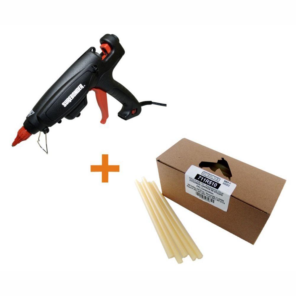 Surebonder 220-Watt Adjustable Temperature Heavy Duty Full Size Glue Gun with 10 in. x 7/16 in. Dia Glue Sticks (5 lb. Bulk Pack)