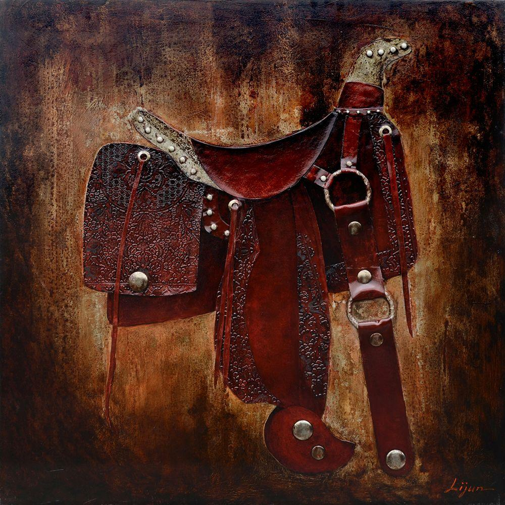 """Yosemite Home Decor 40 in. x 40 in. """"Let's Ride I"""" Hand Painted Canvas Wall Art"""