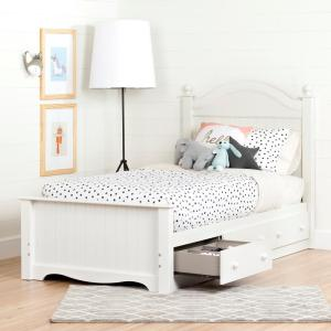 Savannah Pure White Twin-Size Complete with Storage Bed