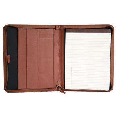 Genuine Leather Executive Convertible Zippered Writing Portfolio Organizer, Tan