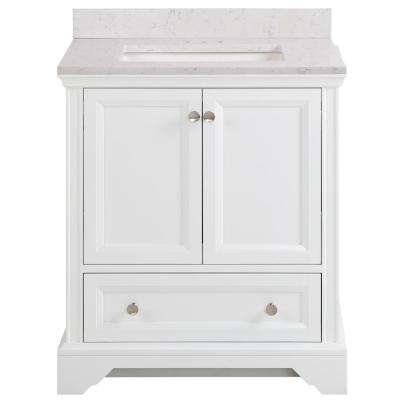 Stratfield 31 in. W x 22 in. D Bathroom Vanity in White with Stone Effect Vanity Top in Pulsar with White Sink