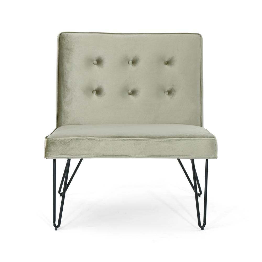 Darrow Modern Button Back Pistachio Velvet Armless Chair