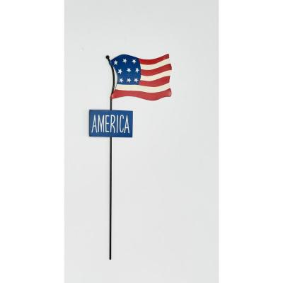 Worth Imports 18 in. Metal Americana Flag Stake With Sign (2-Set)