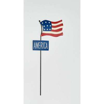 18 in. Metal Americana Flag Stake With Sign (2-Set)