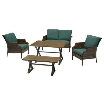 Grayson 5-Piece Brown Wicker Outdoor Patio Dining Set with CushionGuard Charleston Blue-Green Cushions